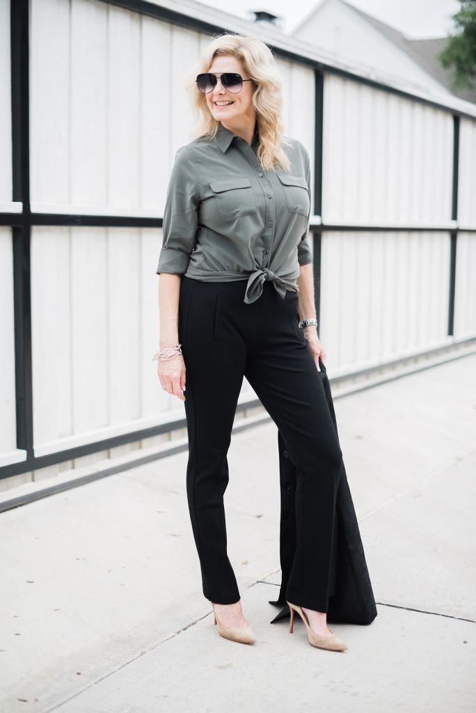 Chico's So Slimming Juliet pant in black with olive green top and black jacket