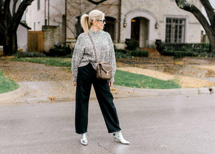 Levi's wide leg jeans, Moon River sweater, Sam Edelman silver booties