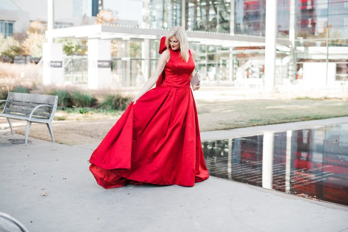 Tanya Foster in a Patti Flowers Design red ball gown. Crystal Charity Ball.