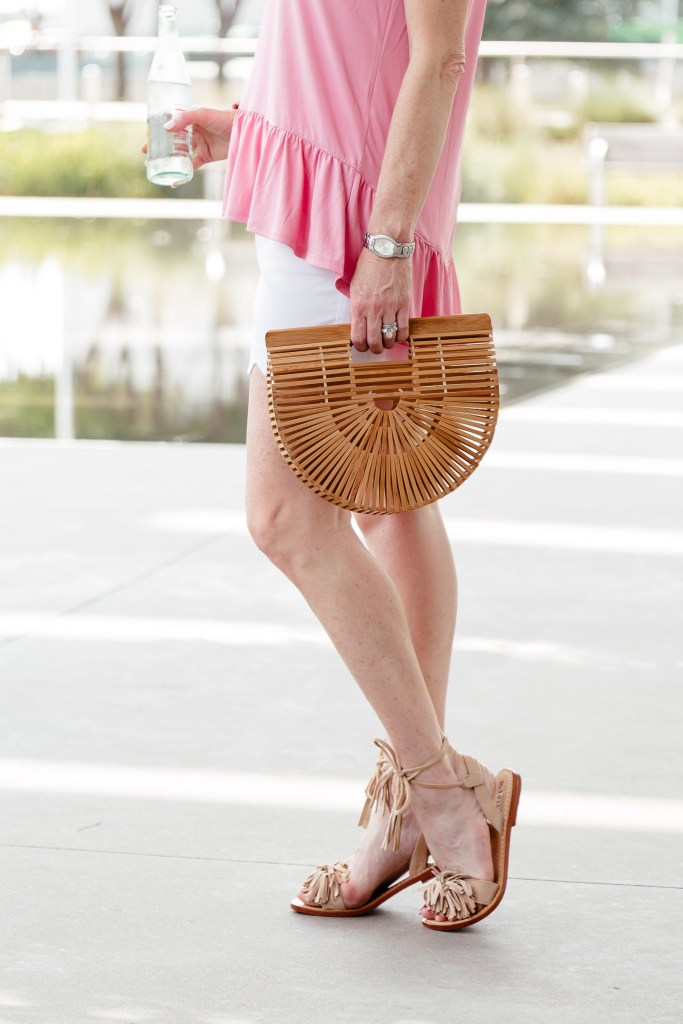 Pink ruffle top and white scalloped shorts for a casual weekend look