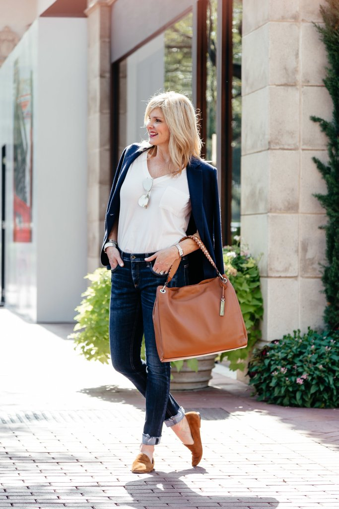 Transitioning to a fall wardrobe from Nordstrom wearing Rag & Bone denim and Rebecca Minkoff bag.
