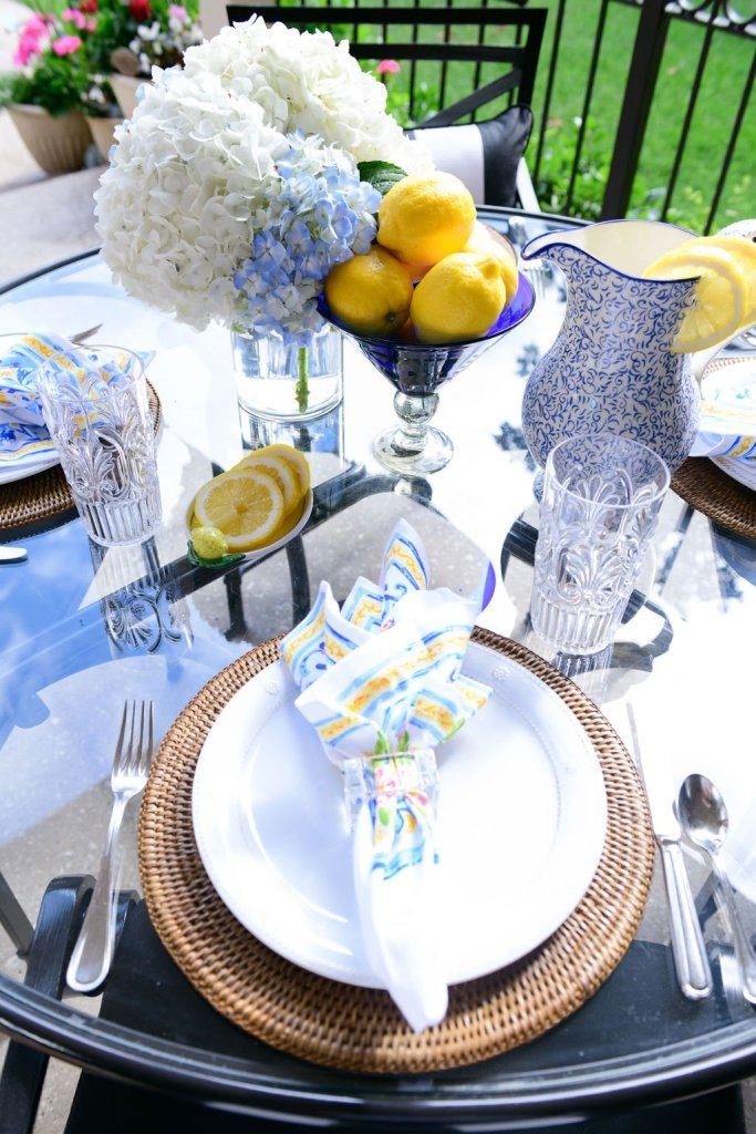 outdoor patio table setting with