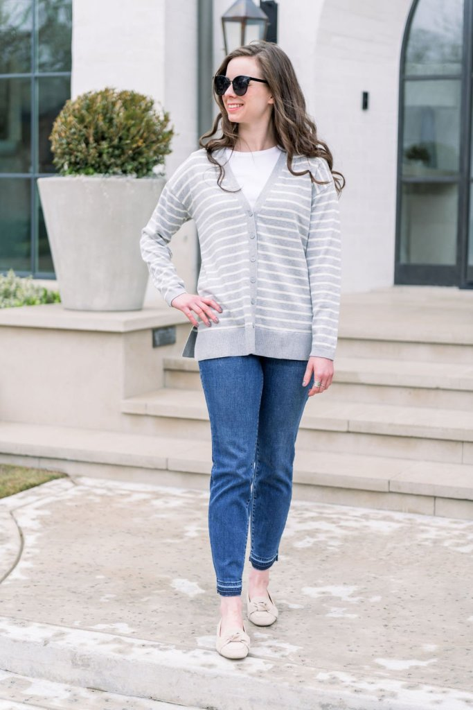 Laura Pearson wearing Talbots jeans, gray striped cardigan and white tee