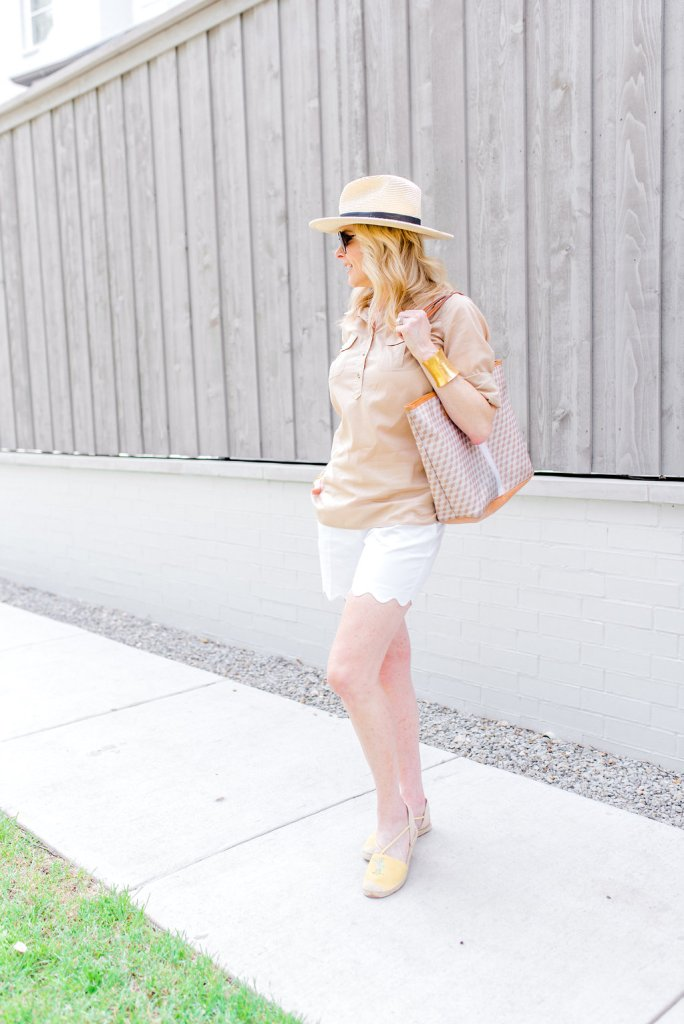 Talbots espadrilles, shorts and top on Tanya Foster.