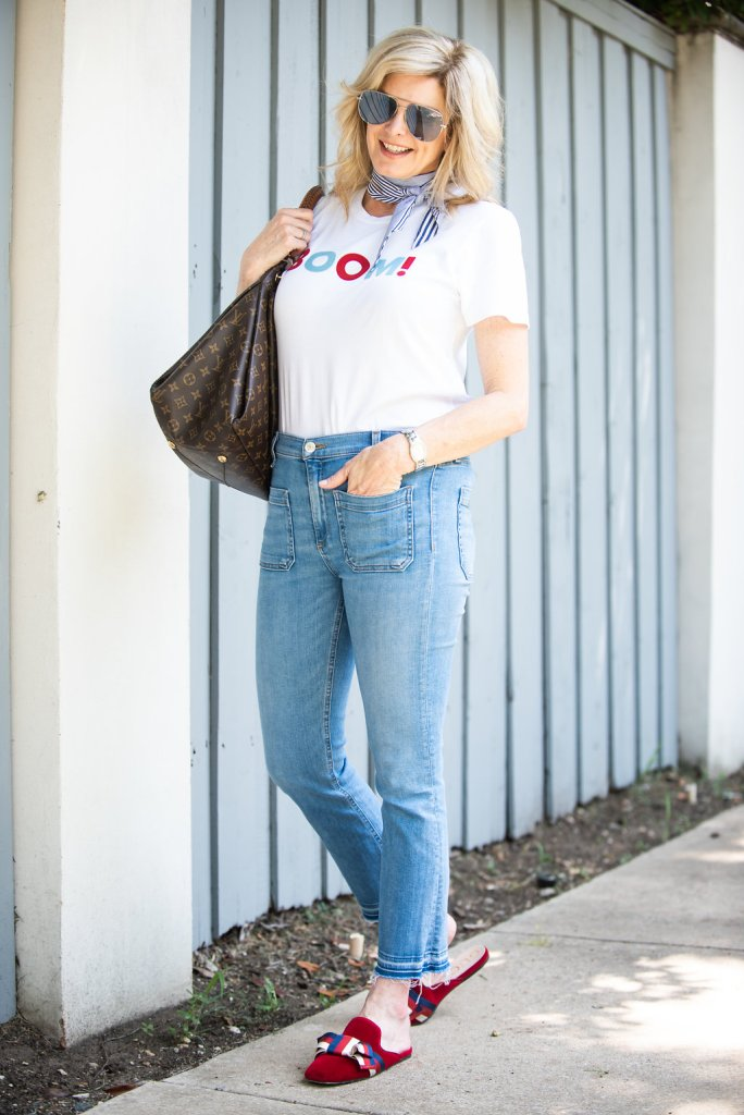 Vintage feel with a graphic tee from Sold Out NYC, Veronica Beard high waisted jeans, scarf, aviators and Gucci slides