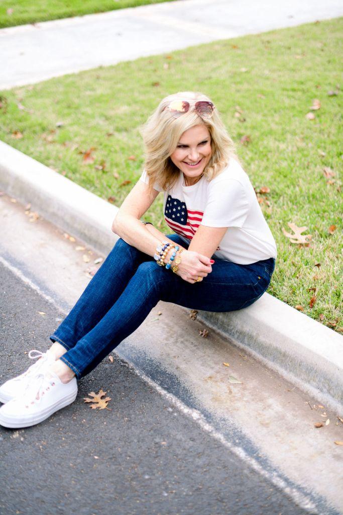 Tanya foster wearing lauren ralph lauren american flag tshirt with ralph lauren skinny jeans and converse