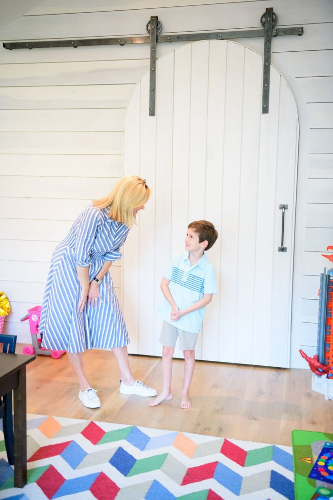 the halfway mark nordstrom anniversary sale best of kids Tanya foster wearing eliza j dress and sperry sneakers with boy wearing vinyard vines polo and khaki shorts