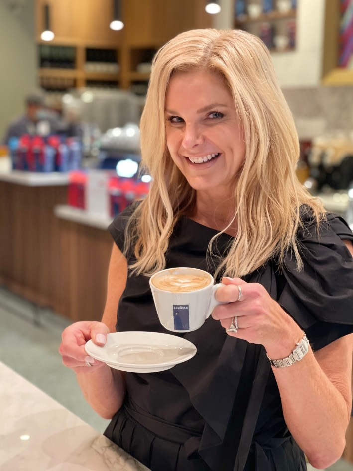 Tanya foster sipping Lavazza cappuccino