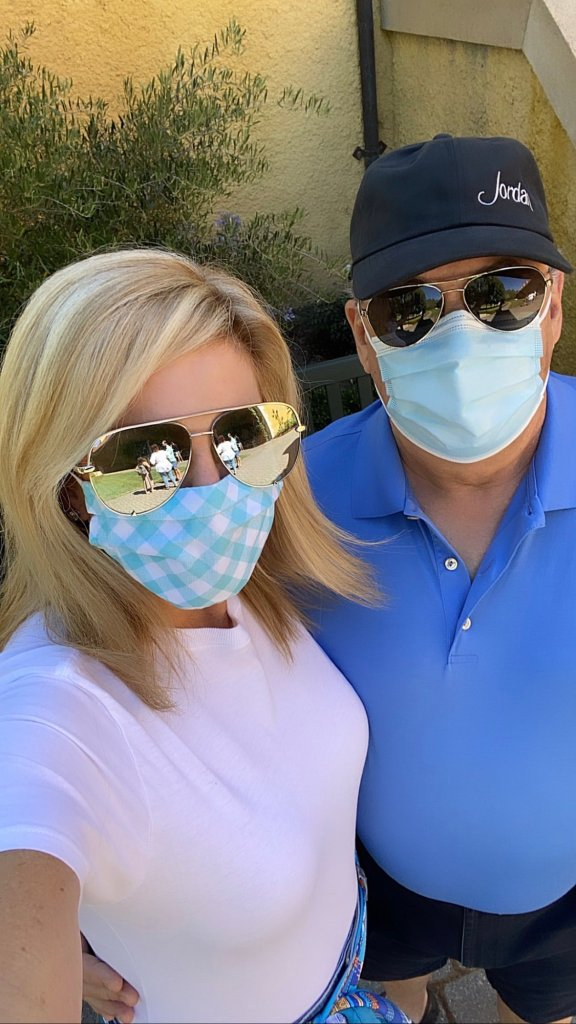 Tanya and Pete Foster with face masks at Jordan Winery