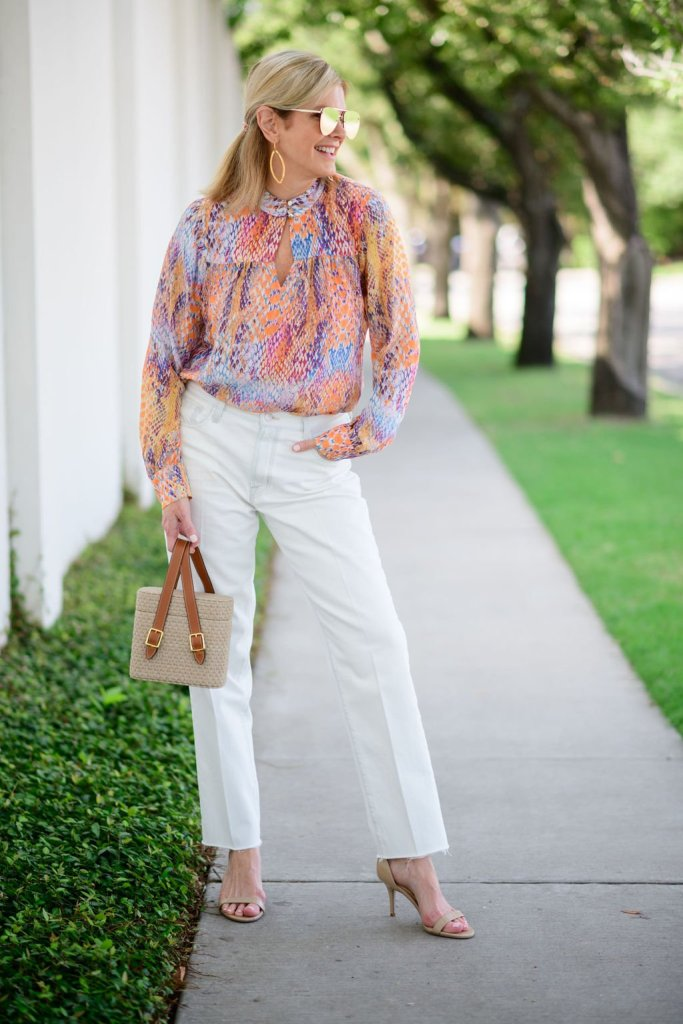 tanya foster in j brand boyfriend jeans hale bob blouse and ODP limited edition straw bag and nude heels