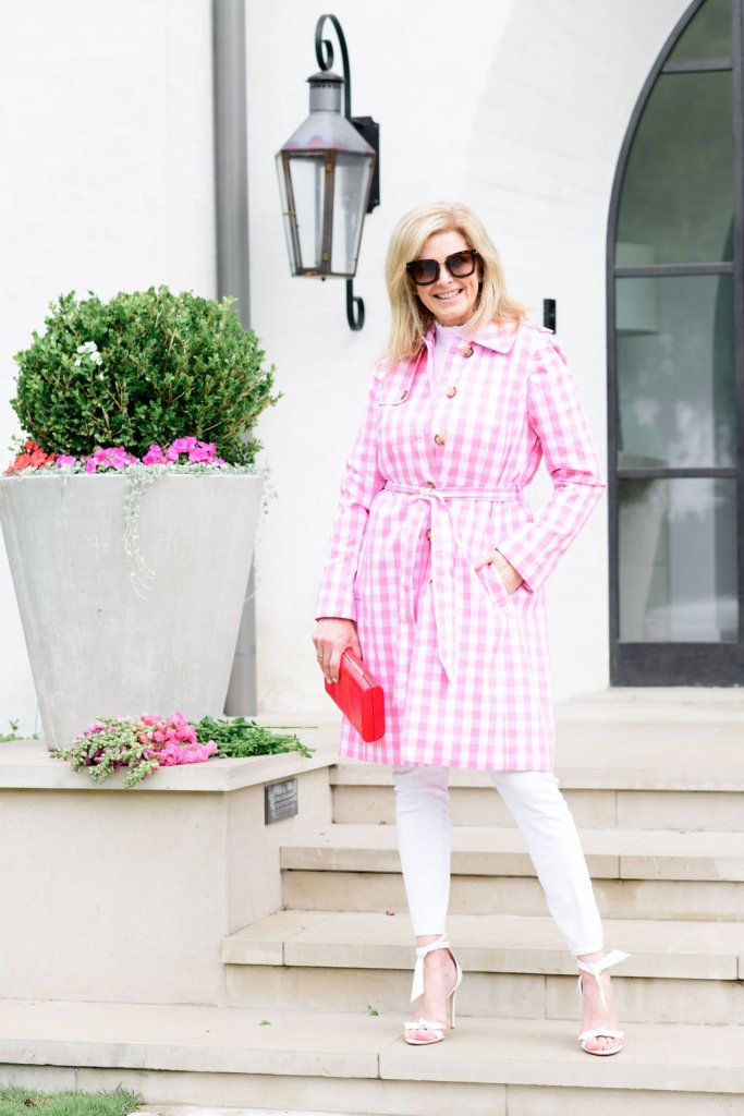 Tanya Foster in all white with talbots pink and white gingham trench coat