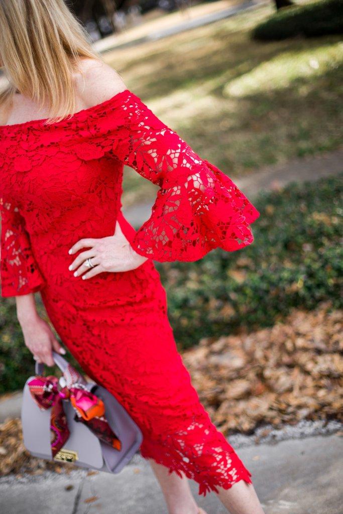Red Shoshanna Dress, Bell Sleeve Off Shoulder Trumpet, Nude Heel, Zac Posen Purse, Dior Aviator Sunglasses