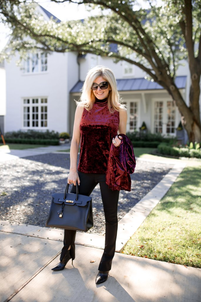 Vince Camuto crushed velvet turtleneck top with jacket and Theory high waist leggings from Nordstrom