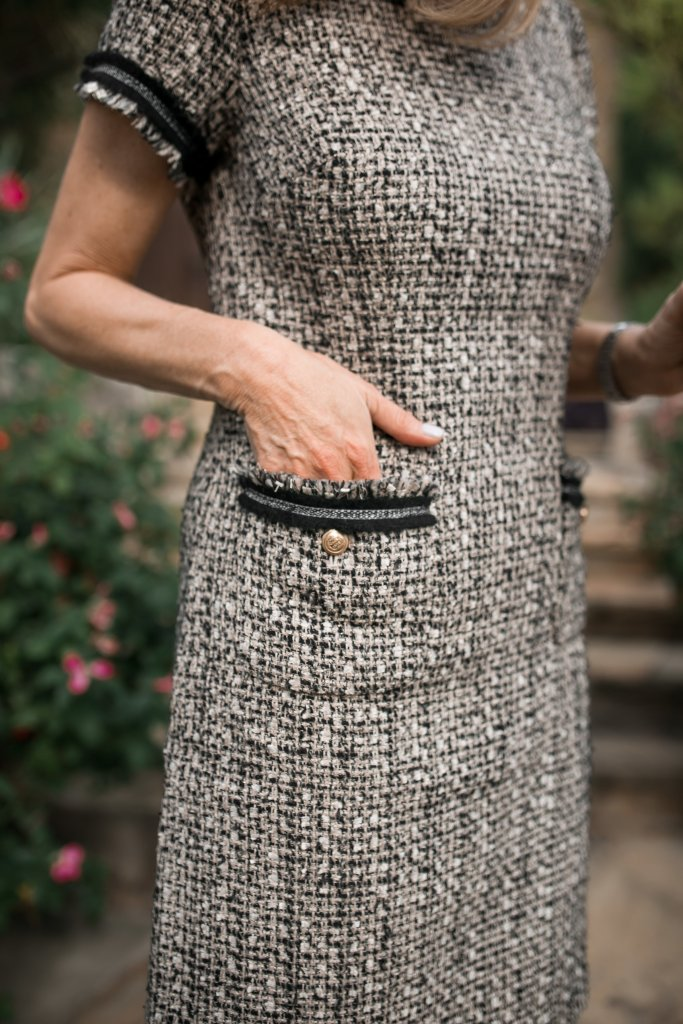 This Talbots tweed dress and two toned shoes are a great Chanel look for much less.