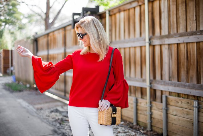 Red Zara Bell Sleeve Top, White Denim, Free People Wicker Purse, Quay Sunglasses