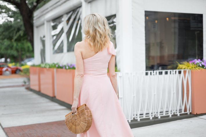 Yvonne Dream Gal Meets Glam Crepe One-Shoulder Dress in rose quartz on Tanya Foster