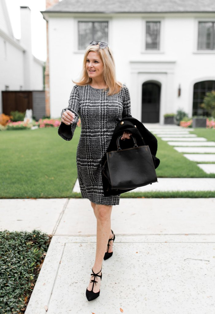 Talbots fall 2017 dress, coat and shoes.