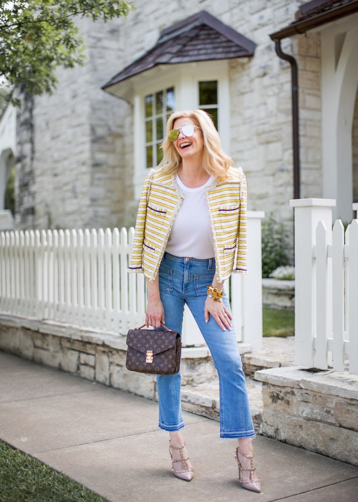 Veronica Beard tweed jacket, jeans, white t-shirt with Louis Vuitton pochette metis bag