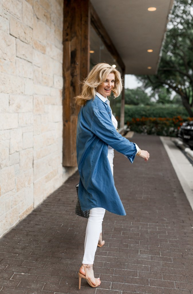Chambray Shirt Dress Used As A Jacket Over White Jeans And Crisp White Shirt