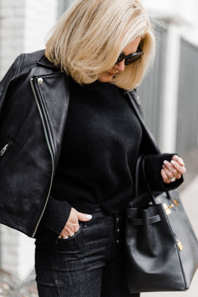 Parker Smith Jeans, & Other Stories black sweater, Topshop leather bomber jacket with black booties