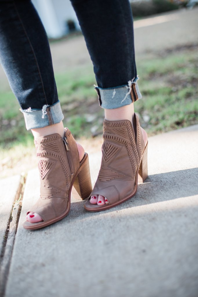 Open toe booties with denim
