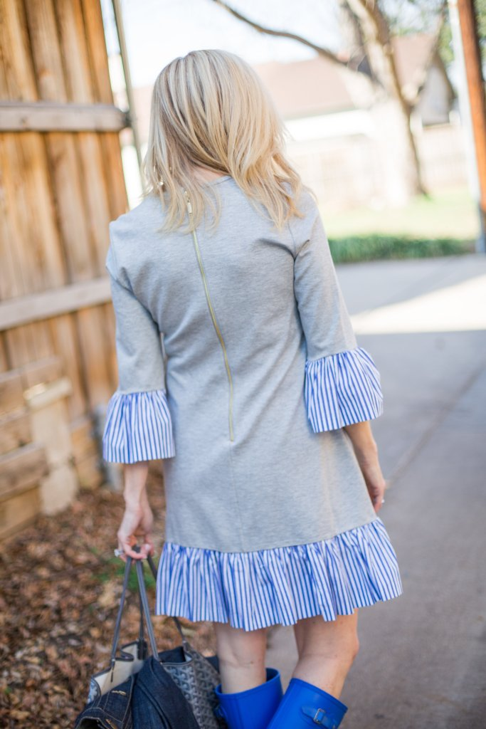 Eliza J shirt dress with ruffles, Hunter Boots and Goyard bag