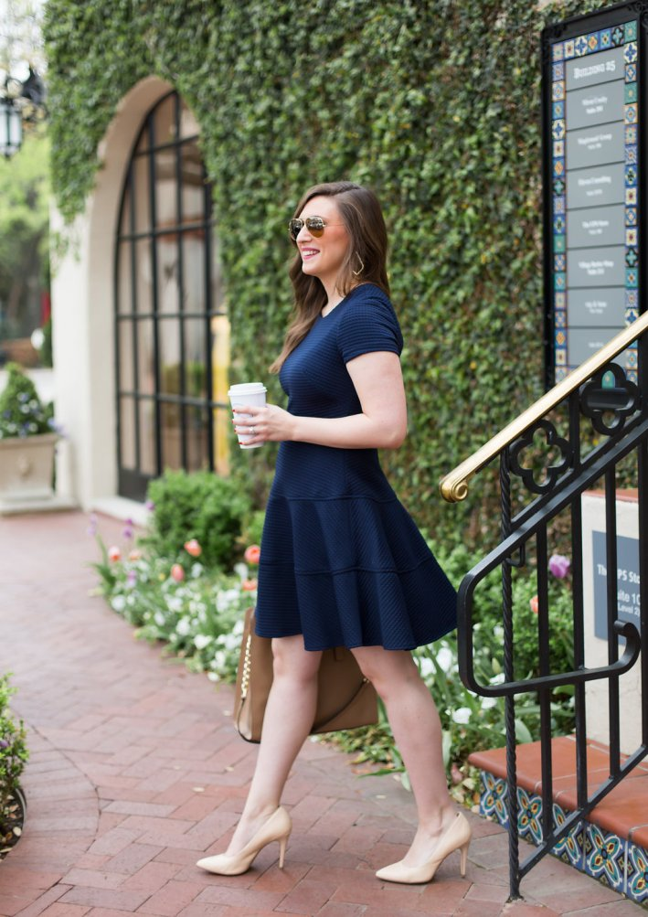 Navy Eliza J Dress, Nude Heels, MK Bag, work wear
