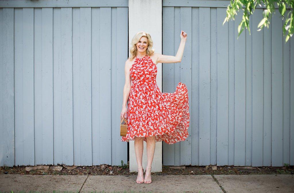 Welcoming summer in a halter neck chiffon dress