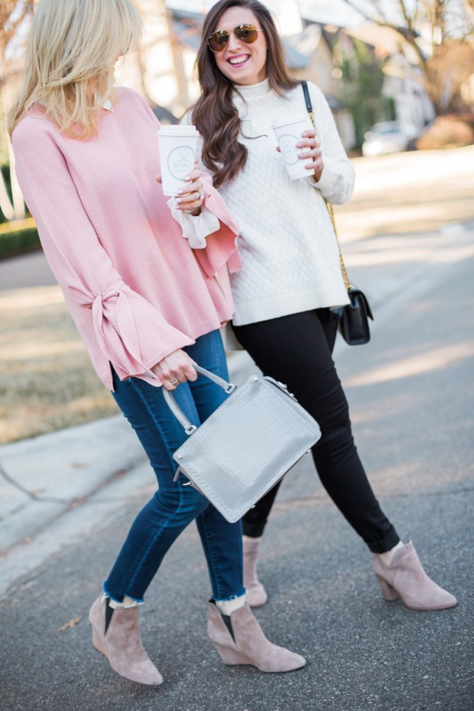 Pink casual sweater, white blouse and jeans with grey bag from Nordstrom