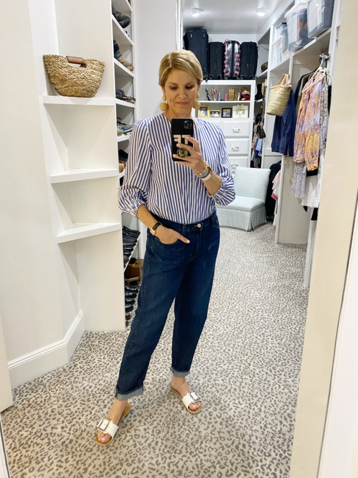 Tanya Foster in tuckernuck blouse j brand boyfriend jeans and m. gemi sandals