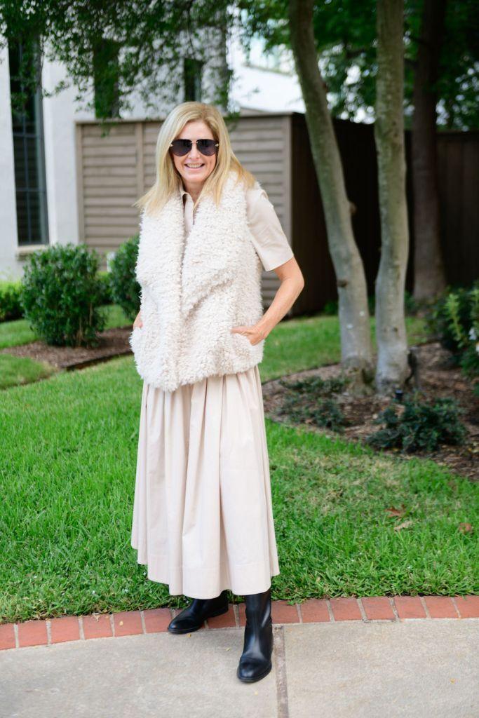 Tanya Foster wearing Staud dress with bb dakota teddy vest