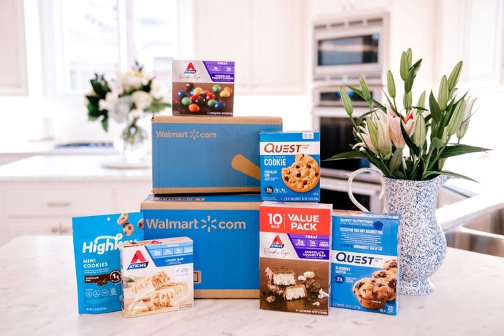 Walmart boxes with atkins endulge snacks quest cookies and bars atkins bars and highkey cookies