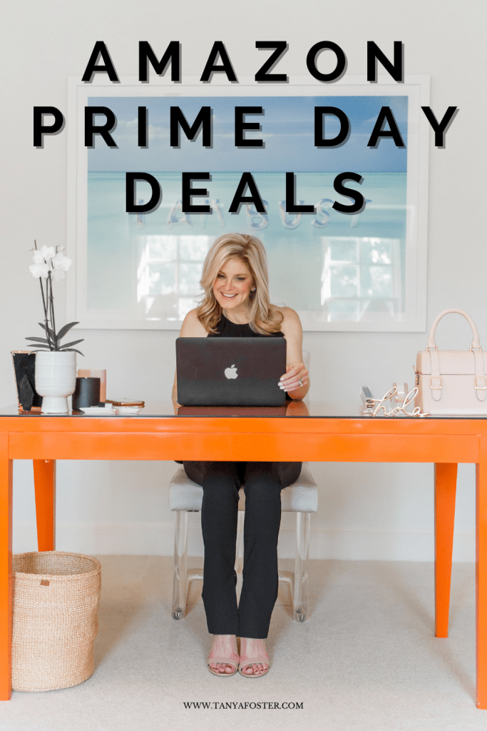 Tanya Foster sitting at a computer shopping for amazon prime day