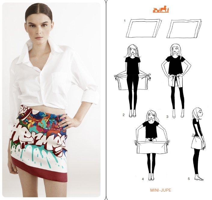 How to tie a Hermes scarf like a mini skirt