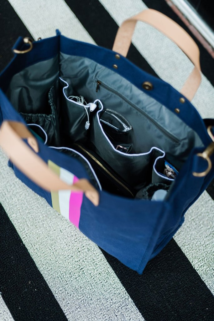 The inside of a bagging rights tote-ally bag in navy