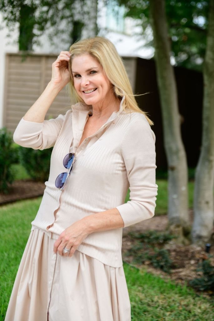 Tanya Foster wearing Staud dress with l'agence cardigan