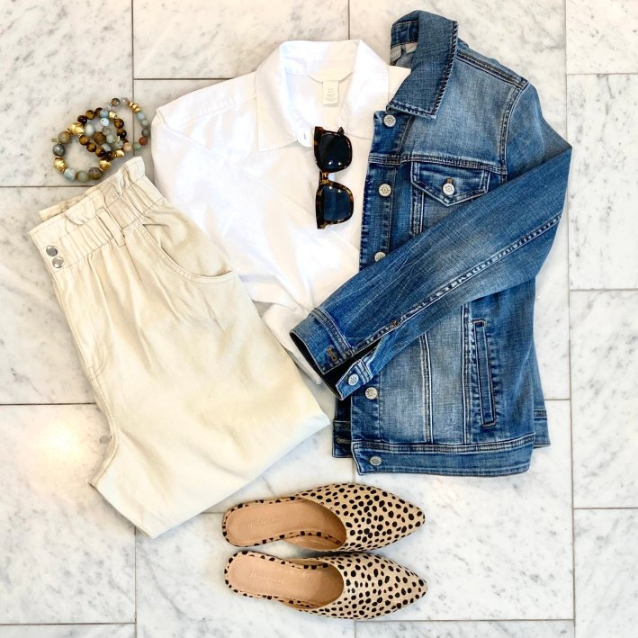 white button up paper bag pants madewell mules and denim jacket with tuckernuck sunglasses and hazen & co bracelets