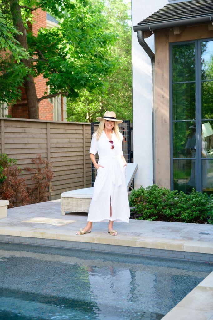 Tanya Foster wearing chico's white gauze maxi shirtdress