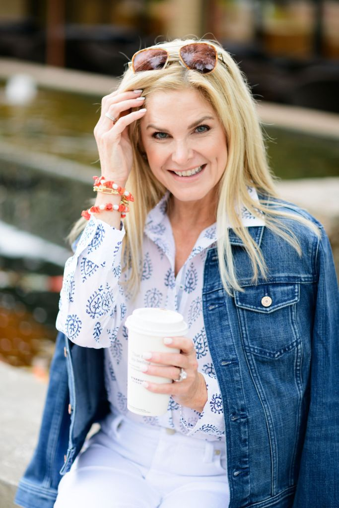 tanya foster wearing talbots white jeans and perfect shirt with jean jacket