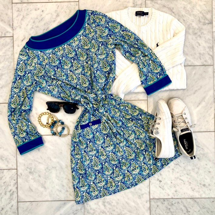 cabana life dress with ralph lauren white sweater and sperry sneakers