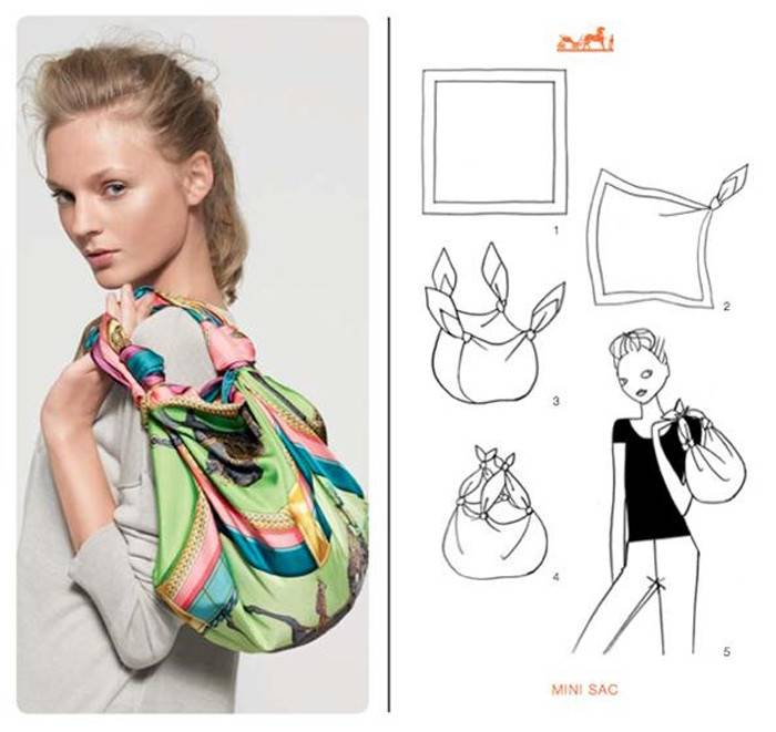 How to tie a Hermes scarf like a small tote bag