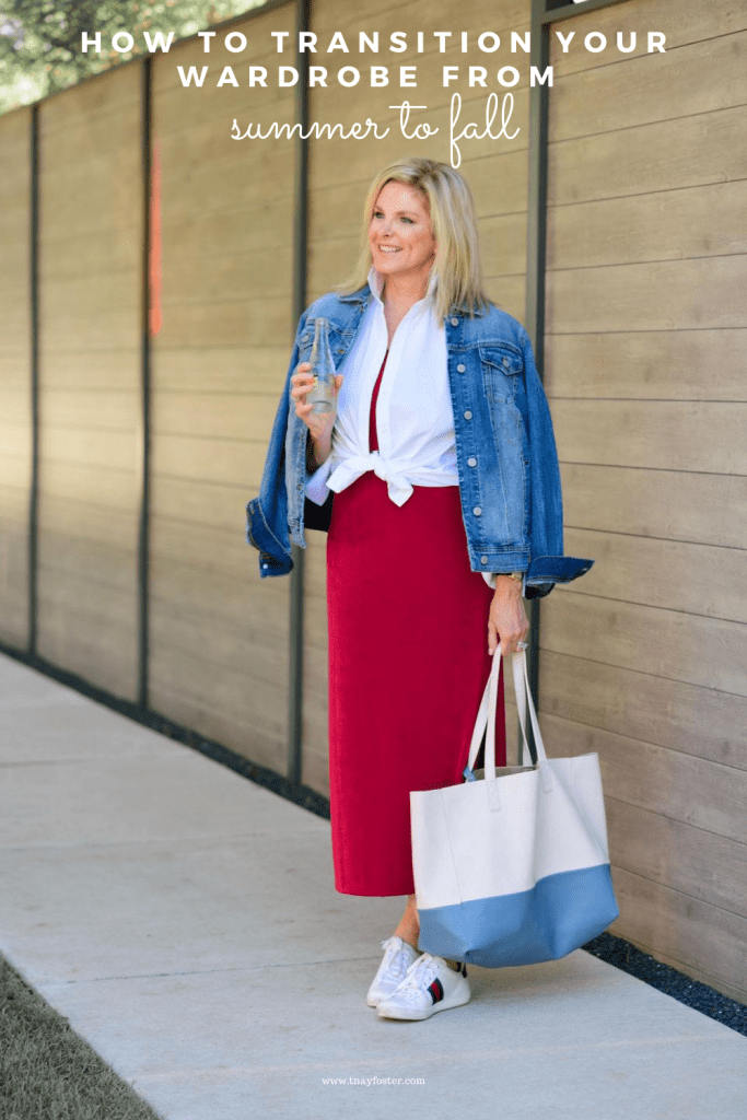 Tanya foster in chico's red dress and white dress shirt and gucci sneakers with a denim jacket and bag