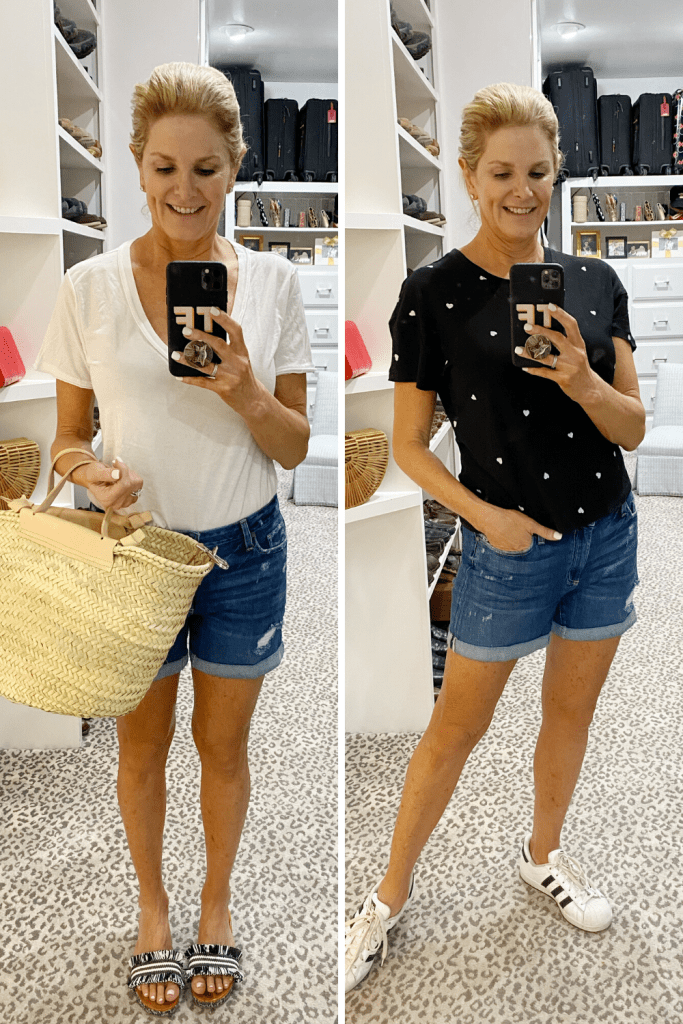 Tanya Foster in jean shorts and z supply shirt and mott and bow white tee june closet try-ons