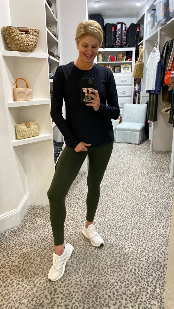 tanya foster in cover swim black top with soma slimming leggings olive green adidas white sneakers