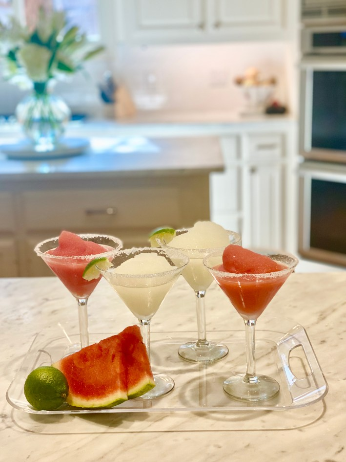 ritas & queso watermelon and lime margaritas on a platter
