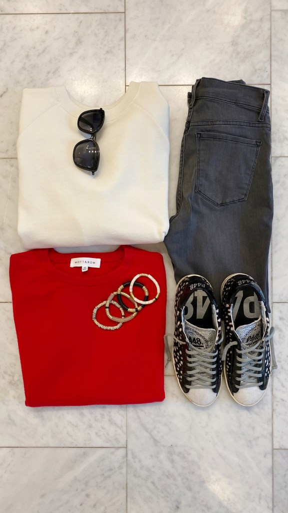 mott & bow gray jeans red cahmere sweater crewneck sweatshirt p448 fashion sneakers