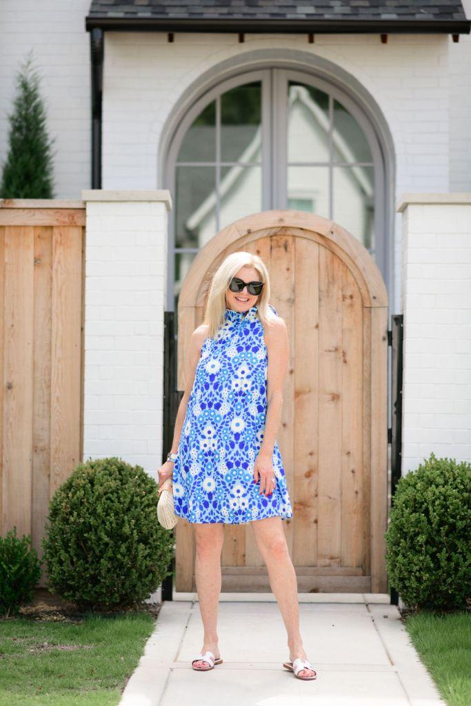 Tanya Foster wearing Tuckernuck Majolica Blythe dress