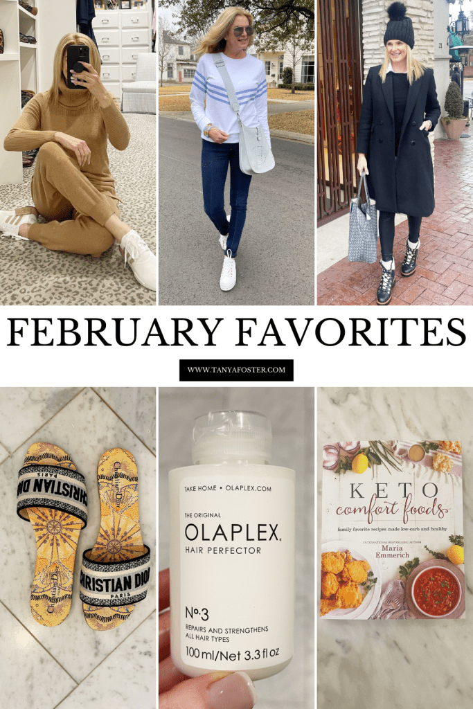 february favorites collage of outfits and products