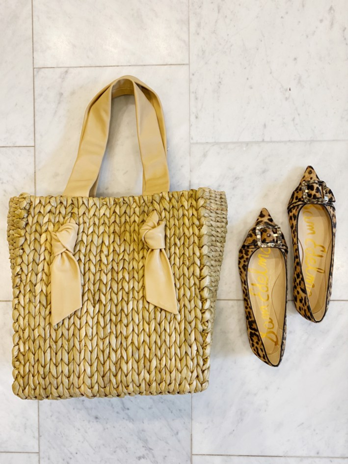 shopbop straw bag with leather straps and sam edelman animal print flats