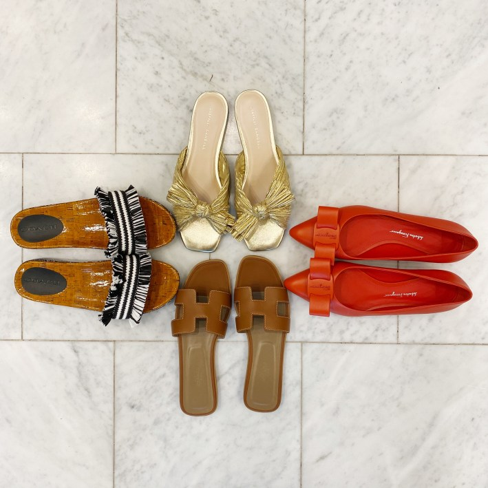 coach sandals, viva orange flats, shop bop sandals and oran slide sandals